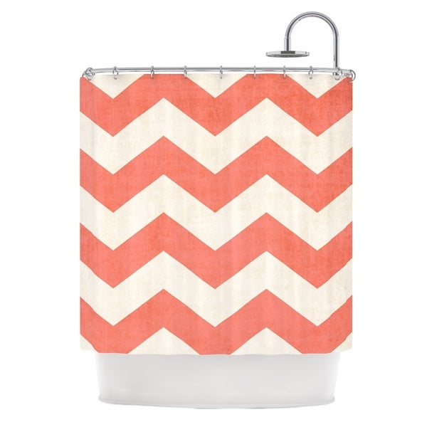 orange chevron shower curtain. KESS InHouse Ann Barnes  Vintage Coral Orange Chevron Shower Curtain 69x70