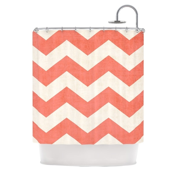 KESS InHouse Ann Barnes Vintage Coral Orange Chevron Shower Curtain (69x70)