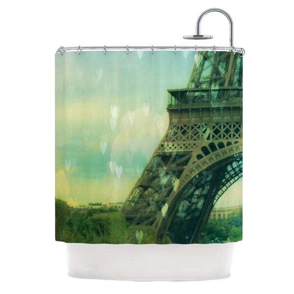 KESS InHouse Ann Barnes Paris Dreams Green Tower Shower Curtain (69x70)