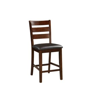 Ezra Dark Walnut Counter-Height Chairs with Black Upholstery (Set of 2)