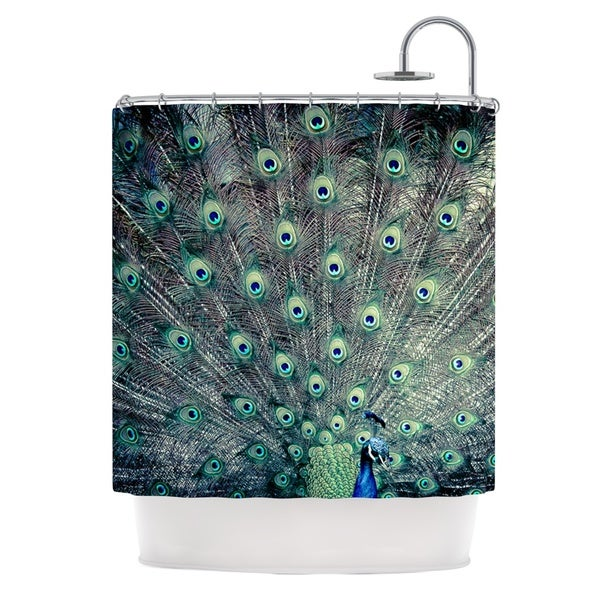 KESS InHouse Ann Barnes Majestic Peacock Feather Shower Curtain 69x70