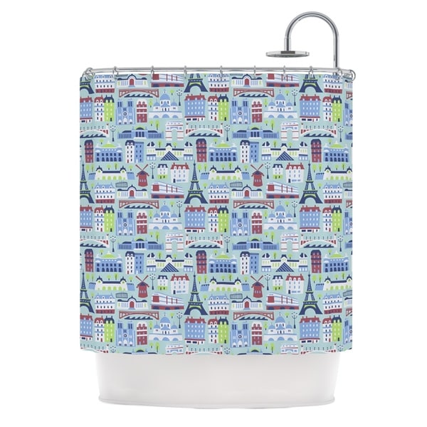KESS InHouse Allison Beilke J'Adore Paris France Pattern Shower Curtain (69x70)