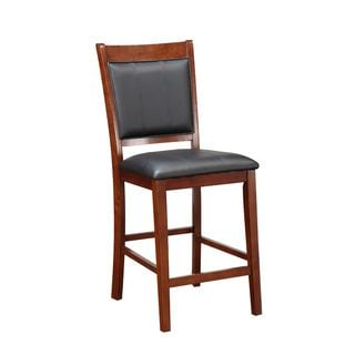 Padma Cherry Wood and Black Faux Leather Counter-height Chairs (Set of 2)