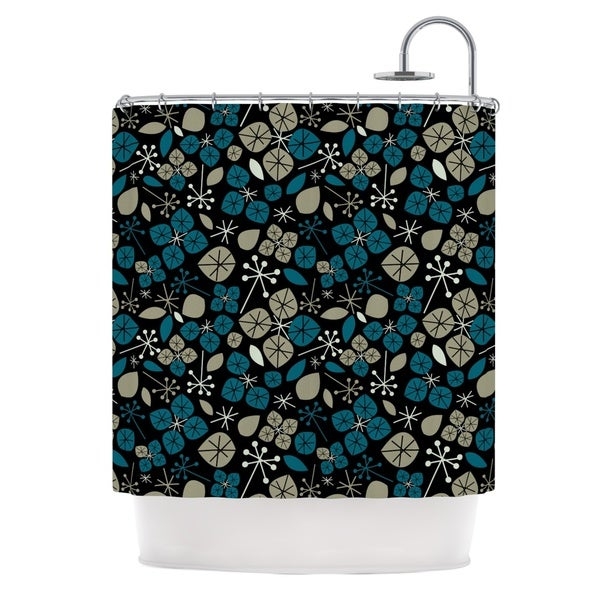 KESS InHouse Allison Beilke Leaf Scatters Midnight Shower Curtain (69x70)