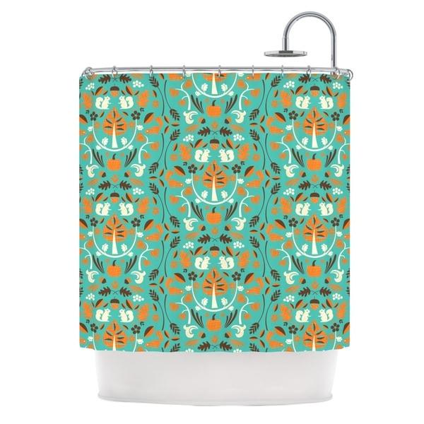KESS InHouse Allison Beilke Autumn Harvest Blue Shower Curtain (69x70)