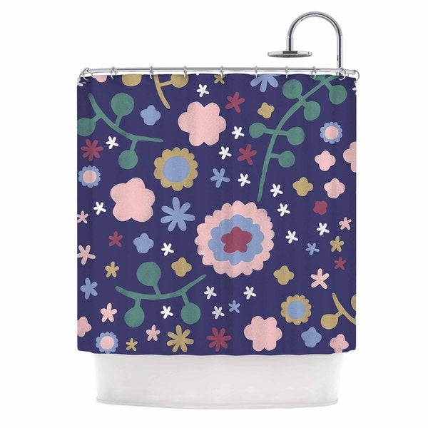 KESS InHouse Alik Arzoumanian Night Floral Blue Nature Shower Curtain (69x70)