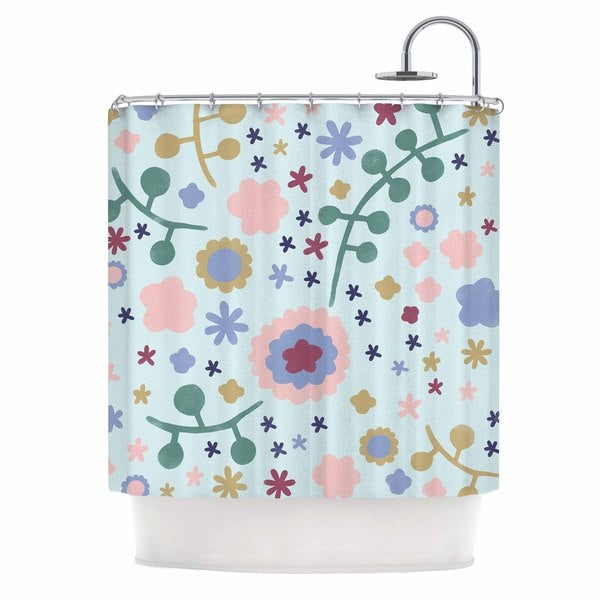 KESS InHouse Alik Arzoumanian Morning Flowers Pink Blue Shower Curtain (69x70)