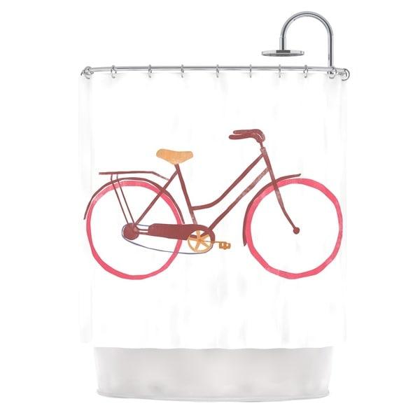 KESS InHouse Alik Arzoumanian Bike White Pink Shower Curtain (69x70)