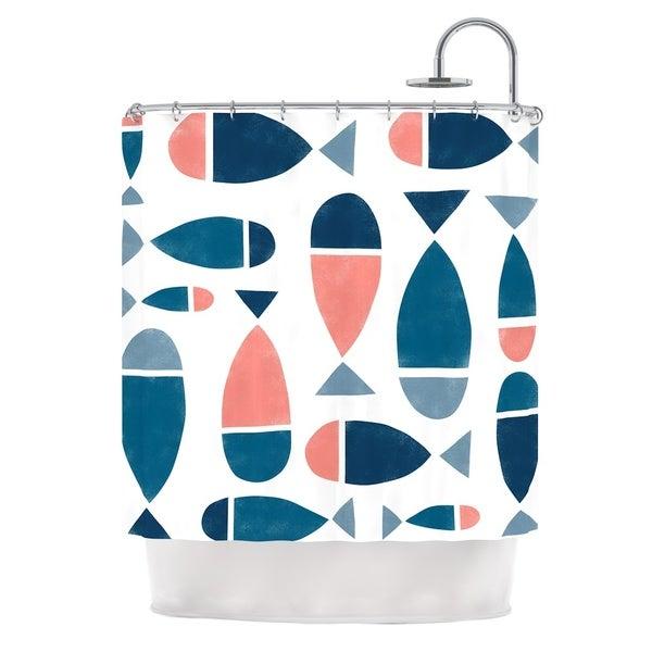 KESS InHouse Alik Arzoumanian Fish White Blue Shower Curtain (69x70)