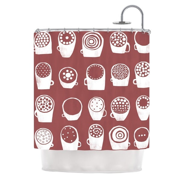 KESS InHouse Alik Arzoumanian Coffee Ring Maroon White Shower Curtain (69x70)