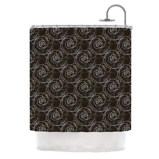 KESS InHouse Mydeas Nautical Breeze - Spiral Swirls Brown Pattern Shower Curtain (69x70)