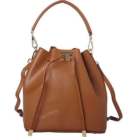 Deleite by Sharo Tan Drawstring Leather Satchel Handbag