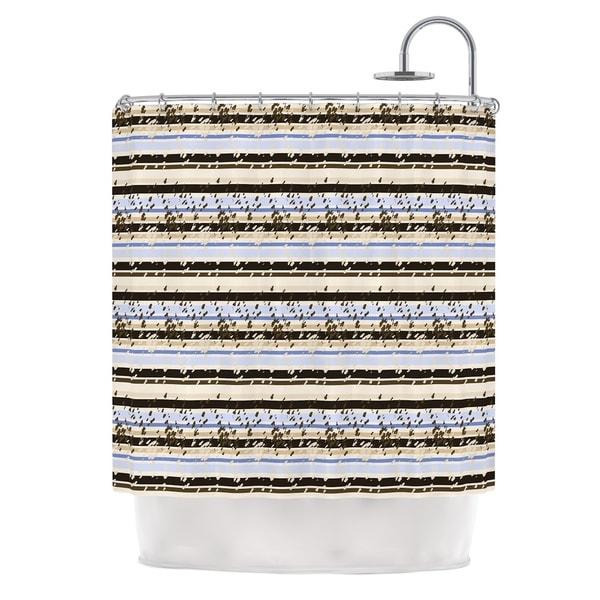 KESS InHouse Mydeas Nautical Breeze - Sandy Stripes Tan Blue Shower Curtain (69x70)