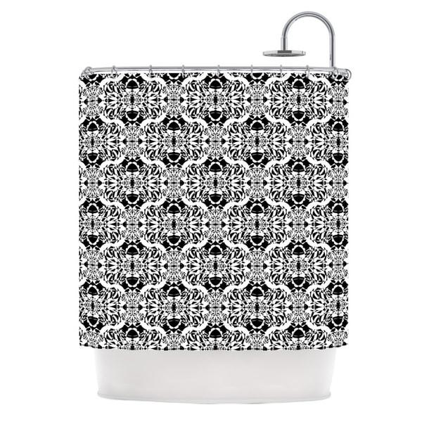 KESS InHouse Mydeas Illusion Damask Black & White Monochrome Shower Curtain (69x70)