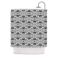 "KESS InHouse Mydeas ""Illusion Damask Black & White"" Monochrome Shower Curtain (69x70) - 69 x 70"