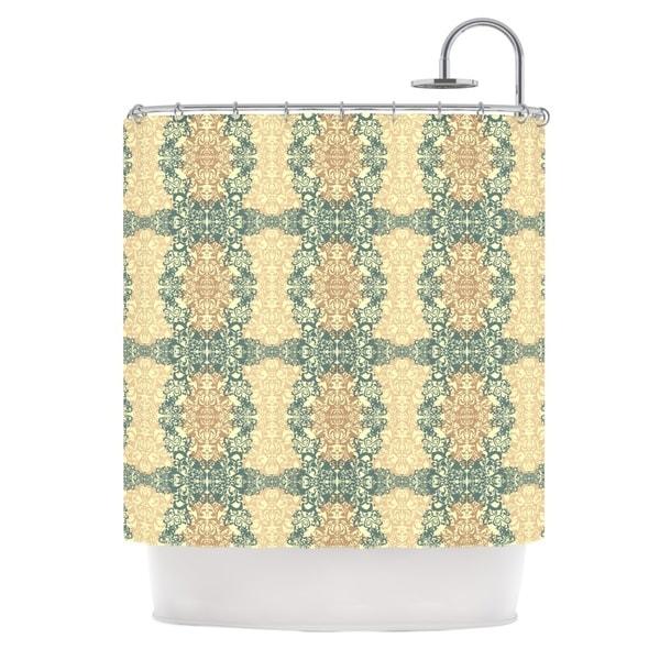 KESS InHouse Mydeas Fancy Damask Antique Brown Teal Shower Curtain (69x70)
