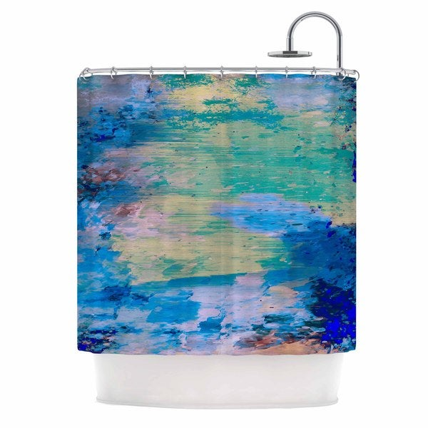 KESS InHouse Nina May Mineral Surf Blue Abstract Shower Curtain (69x70)