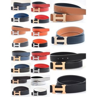 Dinamit Women's H-design Reversible Leather Belt with Removable Buckle