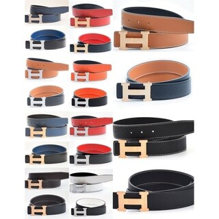 Women's H-design Reversible Leather Belt with Removable Buckle
