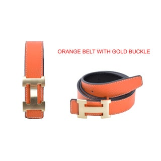 Women's H-design Reversible Leather Belt with Removable Buckle (2 options available)