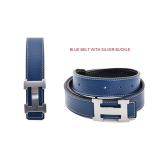 Dinamit Women's Leather H-design Reversible Belt with Removable Buckle
