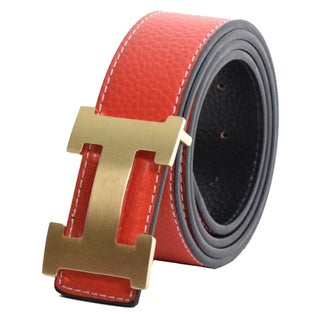 Dinamit Women's Leather H-design Reversible Belt with Removable Buckle (Option: Gold/Red)