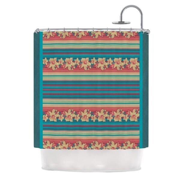 KESS InHouse Nina May Mahalo Denim Stripe Teal Floral Shower Curtain (69x70)