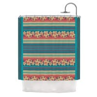 "KESS InHouse Nina May ""Mahalo Denim Stripe"" Teal Floral Shower Curtain (69x70) - 69 x 70"