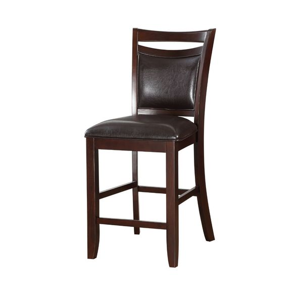 Bellatrix Espresso Finish Faux Leather Counter Height Chair (Set Of 2)