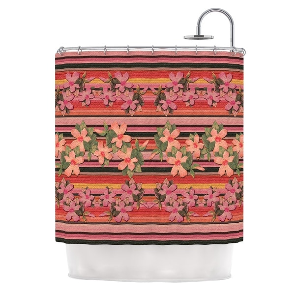 KESS InHouse Nina May Peach Hibiscus Stripe Pink Orange Shower Curtain (69x70)