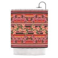 "KESS InHouse Nina May ""Peach Hibiscus Stripe"" Pink Orange Shower Curtain (69x70) - 69 x 70"