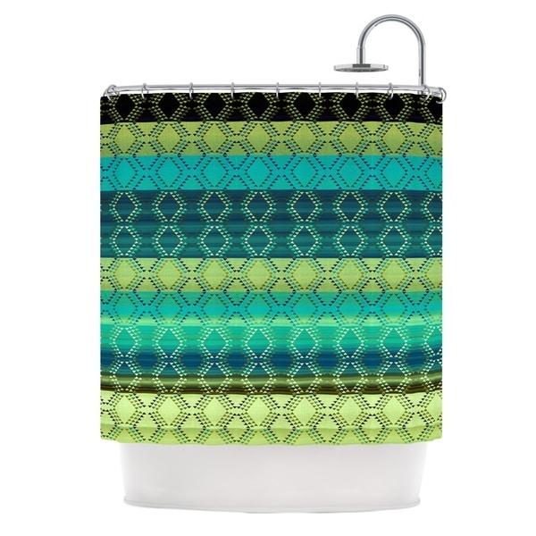 KESS InHouse Nina May Denin Diamond Gradient Green Turquoise Emerald Shower Curtain (69x70)