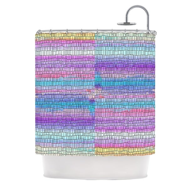 KESS InHouse Nina May Drip Dye Strid Abstract Pastel Shower Curtain (69x70)