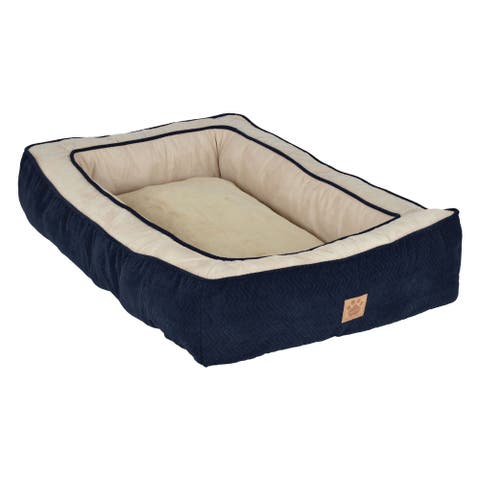 Snoozzy Chevron Chenille Gusset Low Bumper Dog Bed