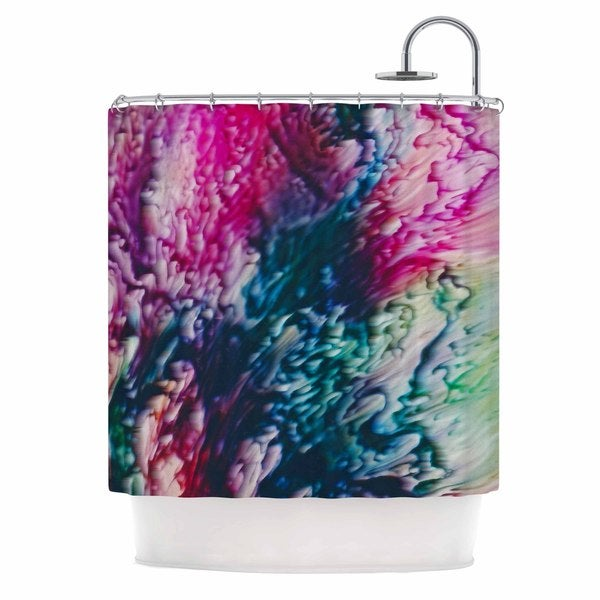 KESS InHouse Malia Shields Splash Abstract Ink Magenta Green Shower Curtain (69x70)