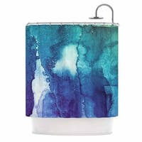 KESS InHouse Malia Shields Blues Abstract Series 1 Green Teal Shower Curtain (69x70)