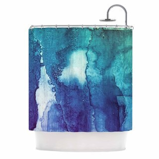 "KESS InHouse Malia Shields ""Blues Abstract Series 1"" Green Teal Shower Curtain (69x70)"