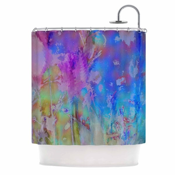 KESS InHouse Malia Shields Painterly Foliage Series 3 Pink Blue Shower Curtain (69x70)
