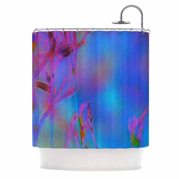 KESS InHouse Malia Shields Painterly Foliage Series 2 Blue Pink Shower Curtain (69x70)