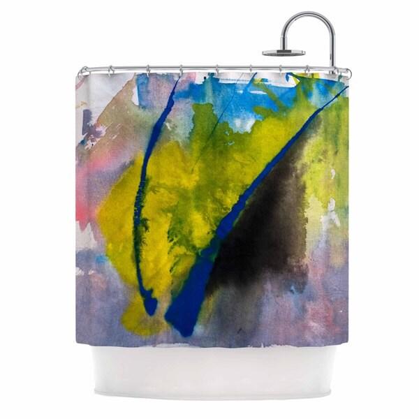 KESS InHouse Malia Shields Exploration Yellow Blue Shower Curtain (69x70)