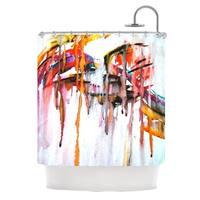 KESS InHouse Malia Shields Cascade White Multicolor Shower Curtain (69x70)