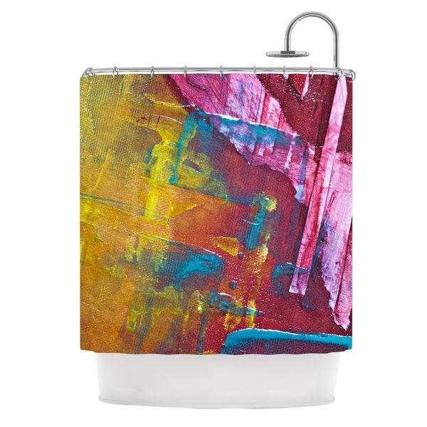 KESS InHouse Malia Shields Cityscape Abstracts III Pink Yellow Shower Curtain (69x70)