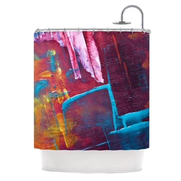 KESS InHouse Malia Shields Cityscape Abstracts II Multicolor Painting Shower Curtain (69x70)
