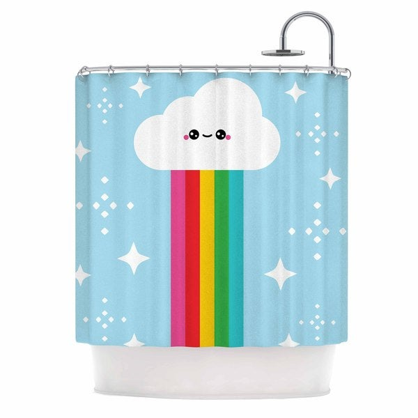 KESS InHouse KESS Original Mr. Rainbow Multicolor Kids Shower Curtain (69x70)