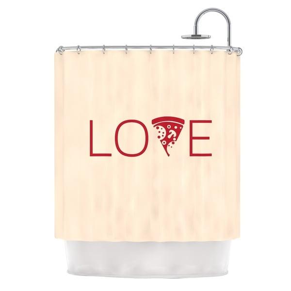 KESS InHouse KESS Original Slice of Love Tan Red Shower Curtain (69x70)