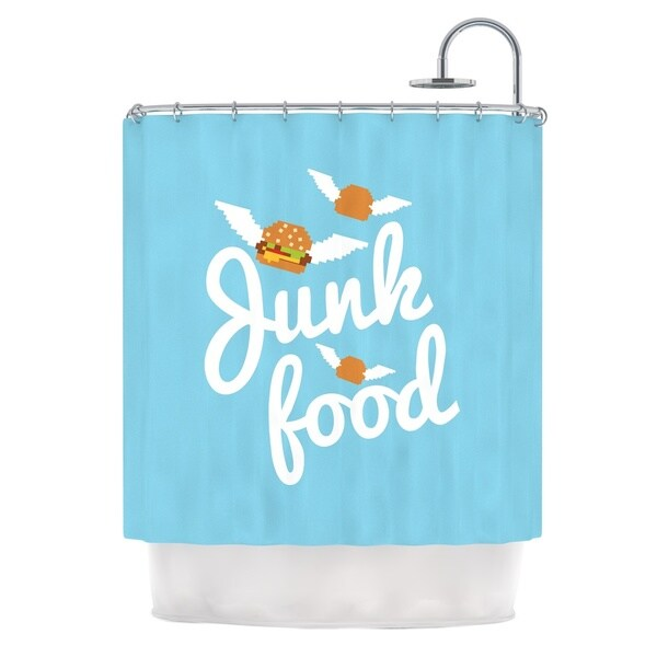 KESS InHouse KESS Original Junk Food Burger Blue Shower Curtain (69x70)
