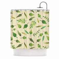 KESS InHouse KESS Original I Be-Leaf In You Beige Green Shower Curtain (69x70)