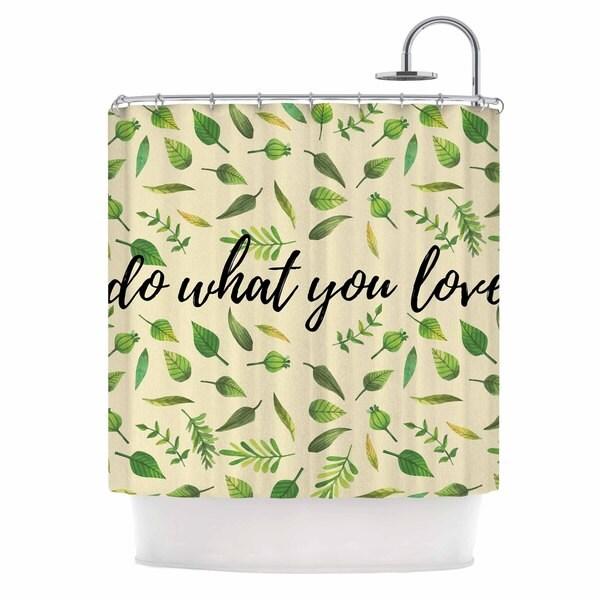 KESS InHouse KESS Original Do What You Love Green Beige Shower Curtain (69x70)