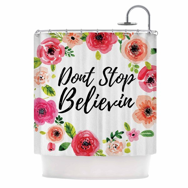 KESS InHouse KESS Original Don't Stop Believin Coral White Shower Curtain (69x70)