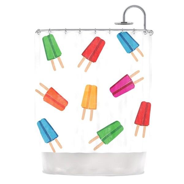 KESS InHouse KESS Original Raining Popsicle Multicolor Digital Shower Curtain (69x70)